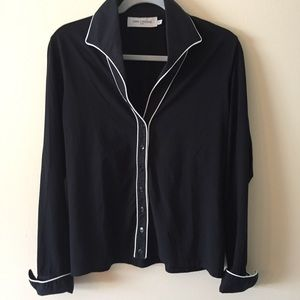 Anne Fontaine Size 44/16 Button up Blouse Black